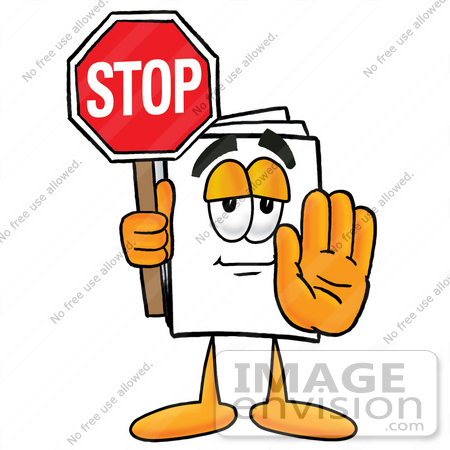 #26113 Clip Art Graphic of a White Copy and Print Paper Cartoon Character Holding a Stop Sign by toons4biz