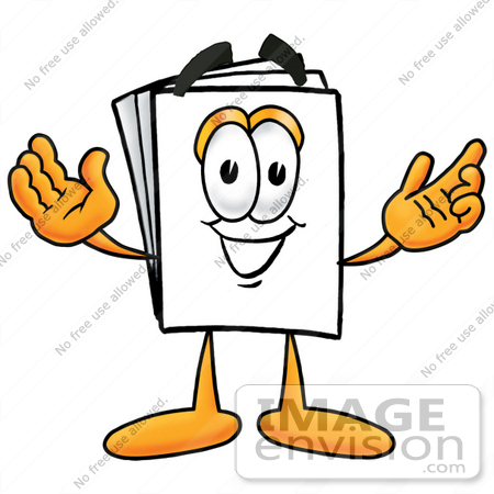 #26114 Clip Art Graphic of a White Copy and Print Paper Cartoon Character With Welcoming Open Arms by toons4biz
