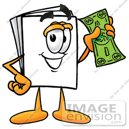 #26121 Clip Art Graphic of a White Copy and Print Paper Cartoon Character Holding a Dollar Bill by toons4biz