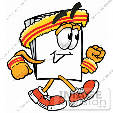 #26137 Clip Art Graphic of a White Copy and Print Paper Cartoon Character Speed Walking or Jogging by toons4biz