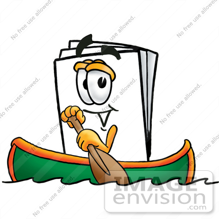 #26151 Clip Art Graphic of a White Copy and Print Paper Cartoon Character Rowing a Boat by toons4biz
