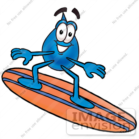 #26168 Clip Art Graphic of a Blue Waterdrop or Tear Character Surfing on a Blue and Orange Surfboard by toons4biz