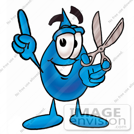 #26188 Clip Art Graphic of a Blue Waterdrop or Tear Character Holding a Pair of Scissors by toons4biz