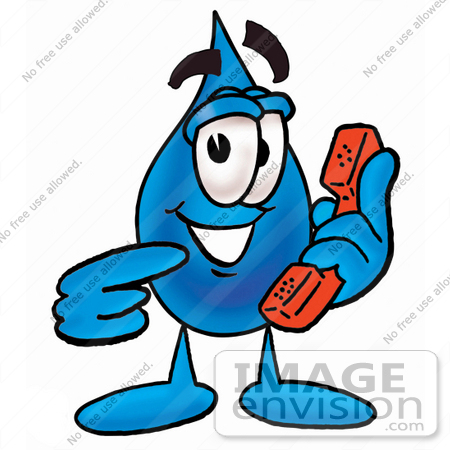 #26195 Clip Art Graphic of a Blue Waterdrop or Tear Character Holding a Telephone by toons4biz