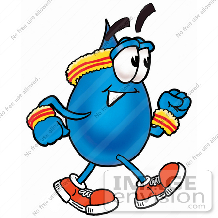 #26199 Clip Art Graphic of a Blue Waterdrop or Tear Character Speed Walking or Jogging by toons4biz