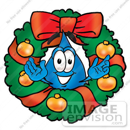 #26215 Clip Art Graphic of a Blue Waterdrop or Tear Character in the Center of a Christmas Wreath by toons4biz