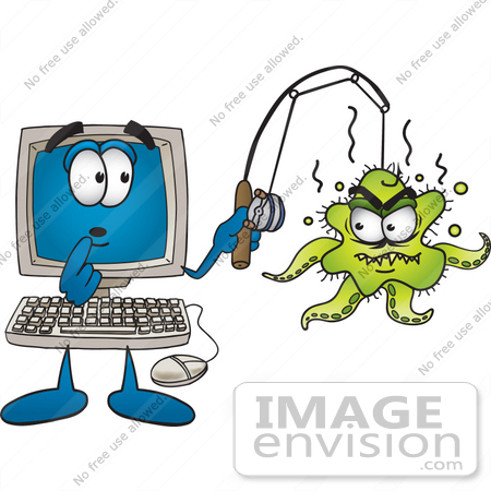 #26220 Clip Art Graphic of a Shocked Desktop Computer Cartoon Character With an Ugly Green Octopus Hooked on His Fishing Pole by toons4biz