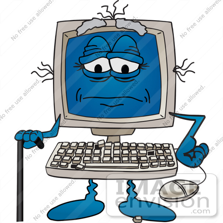#26228 Clip Art Graphic of an Old Desktop Computer Cartoon Character With Keys Falling Off of the Keyboard, Using a Cane by toons4biz