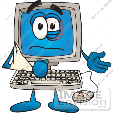 #26230 Clip Art Graphic of a Beat up Desktop Computer Cartoon Character With a Black Eye, a Bandage on its Mouse and its Arm in a Sling by toons4biz