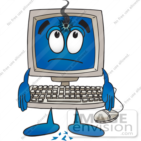 Clip Art Graphic of a Desktop Computer Cartoon Character With a ...