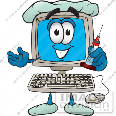 #26238 Clip Art Graphic of a Desktop Computer Cartoon Character Doctor Holding a Syringe by toons4biz