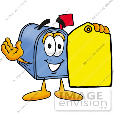 #26250 Clip Art Graphic of a Blue Snail Mailbox Cartoon Character Holding a Yellow Sales Price Tag by toons4biz