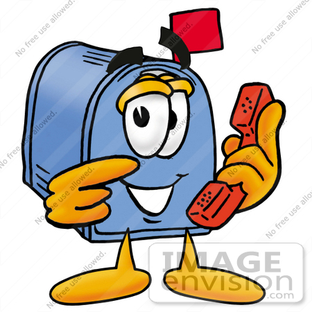 #26258 Clip Art Graphic of a Blue Snail Mailbox Cartoon Character Holding a Telephone by toons4biz