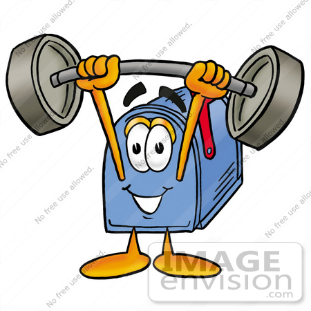 #26264 Clip Art Graphic of a Blue Snail Mailbox Cartoon Character Holding a Heavy Barbell Above His Head by toons4biz
