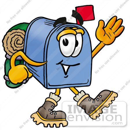 #26271 Clip Art Graphic of a Blue Snail Mailbox Cartoon Character Hiking and Carrying a Backpack by toons4biz
