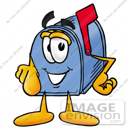 #26275 Clip Art Graphic of a Blue Snail Mailbox Cartoon Character Pointing at the Viewer by toons4biz