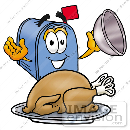 #26292 Clip Art Graphic of a Blue Snail Mailbox Cartoon Character Serving a Thanksgiving Turkey on a Platter by toons4biz