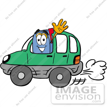#26293 Clip Art Graphic of a Blue Snail Mailbox Cartoon Character Driving a Green Car and Waving by toons4biz