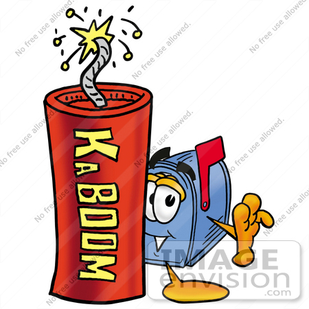#26297 Clip Art Graphic of a Blue Snail Mailbox Cartoon Character Standing With a Lit Stick of Dynamite by toons4biz