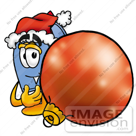 #26302 Clip Art Graphic of a Blue Snail Mailbox Cartoon Character Wearing a Santa Hat, Standing With a Christmas Bauble by toons4biz