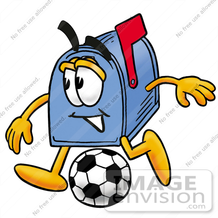 #26303 Clip Art Graphic of a Blue Snail Mailbox Cartoon Character Kicking a Soccer Ball by toons4biz