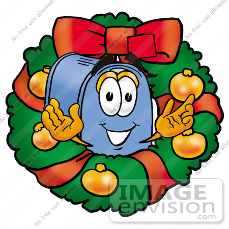 #26314 Clip Art Graphic of a Blue Snail Mailbox Cartoon Character in the Center of a Christmas Wreath by toons4biz