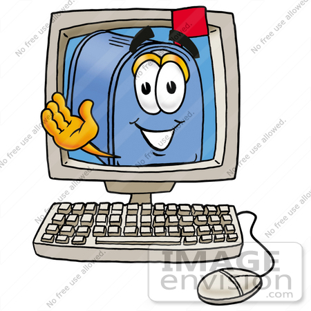 #26316 Clip Art Graphic of a Blue Snail Mailbox Cartoon Character Waving From Inside a Computer Screen by toons4biz