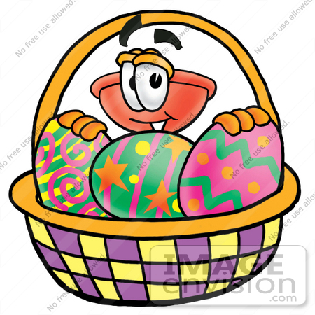 #26347 Clip Art Graphic of a Plumbing Toilet or Sink Plunger Cartoon Character in an Easter Basket Full of Decorated Easter Eggs by toons4biz