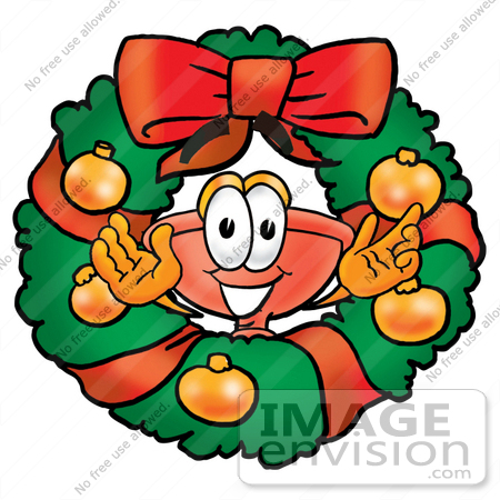 #26349 Clip Art Graphic of a Plumbing Toilet or Sink Plunger Cartoon Character in the Center of a Christmas Wreath by toons4biz