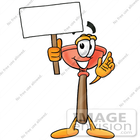 #26380 Clip Art Graphic of a Plumbing Toilet or Sink Plunger Cartoon Character Holding a Blank Sign by toons4biz