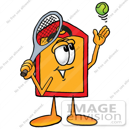 #26395 Clip Art Graphic of a Red and Yellow Sales Price Tag Cartoon Character Preparing to Hit a Tennis Ball by toons4biz