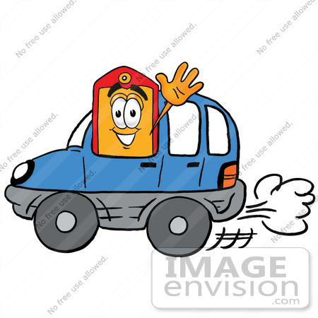 #26419 Clip Art Graphic of a Red and Yellow Sales Price Tag Cartoon Character Driving a Blue Car and Waving by toons4biz