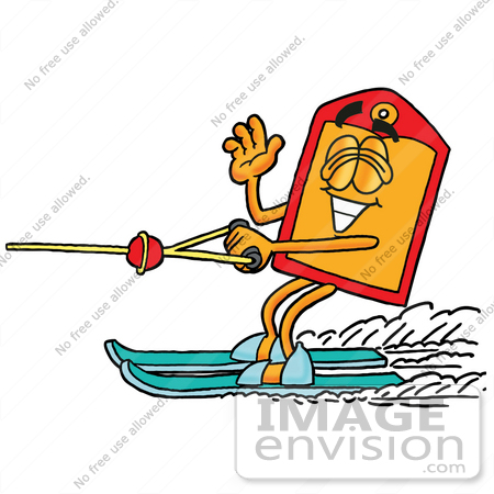 #26430 Clip Art Graphic of a Red and Yellow Sales Price Tag Cartoon Character Waving While Water Skiing by toons4biz