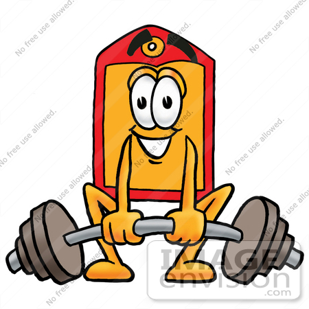 #26431 Clip Art Graphic of a Red and Yellow Sales Price Tag Cartoon Character Lifting a Heavy Barbell by toons4biz