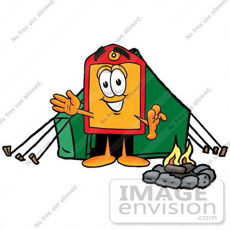 #26432 Clip Art Graphic of a Red and Yellow Sales Price Tag Cartoon Character Camping With a Tent and Fire by toons4biz