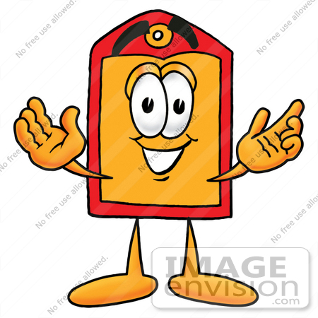 #26434 Clip Art Graphic of a Red and Yellow Sales Price Tag Cartoon Character With Welcoming Open Arms by toons4biz