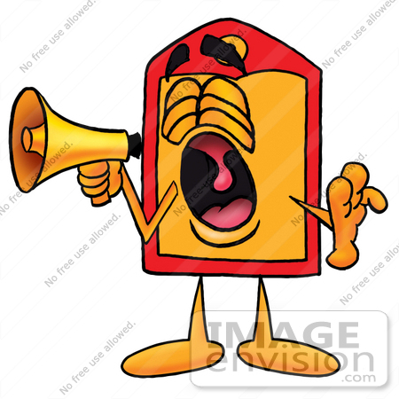#26436 Clip Art Graphic of a Red and Yellow Sales Price Tag Cartoon Character Screaming Into a Megaphone by toons4biz