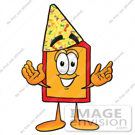 #26437 Clip Art Graphic of a Red and Yellow Sales Price Tag Cartoon Character Wearing a Birthday Party Hat by toons4biz