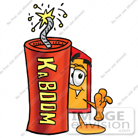 #26439 Clip Art Graphic of a Red and Yellow Sales Price Tag Cartoon Character Standing With a Lit Stick of Dynamite by toons4biz