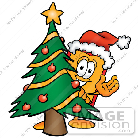 #26444 Clip Art Graphic of a Red and Yellow Sales Price Tag Cartoon Character Waving and Standing by a Decorated Christmas Tree by toons4biz