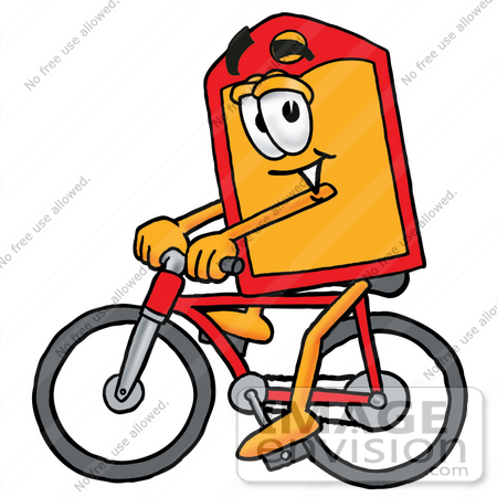 #26445 Clip Art Graphic of a Red and Yellow Sales Price Tag Cartoon Character Riding a Bicycle by toons4biz