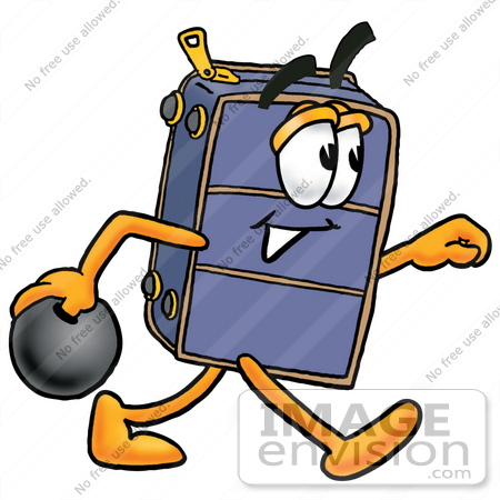 #26449 Clip Art Graphic of a Suitcase Luggage Cartoon Character Holding a Bowling Ball by toons4biz