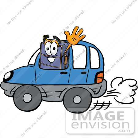 #26454 Clip Art Graphic of a Suitcase Luggage Cartoon Character Driving a Blue Car and Waving by toons4biz