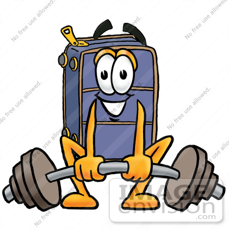 #26470 Clip Art Graphic of a Suitcase Luggage Cartoon Character Lifting a Heavy Barbell by toons4biz