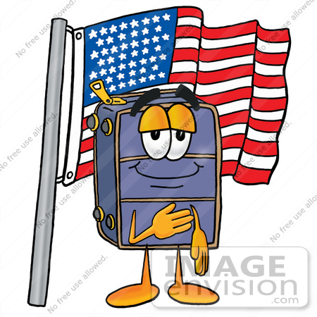 #26481 Clip Art Graphic of a Suitcase Luggage Cartoon Character Pledging Allegiance to an American Flag by toons4biz