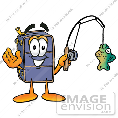 #26494 Clip Art Graphic of a Suitcase Luggage Cartoon Character Holding a Fish on a Fishing Pole by toons4biz
