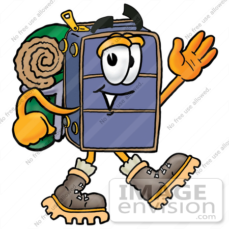 #26499 Clip Art Graphic of a Suitcase Luggage Cartoon Character Hiking and Carrying a Backpack by toons4biz