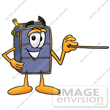 #26500 Clip Art Graphic of a Suitcase Luggage Cartoon Character Holding a Pointer Stick by toons4biz