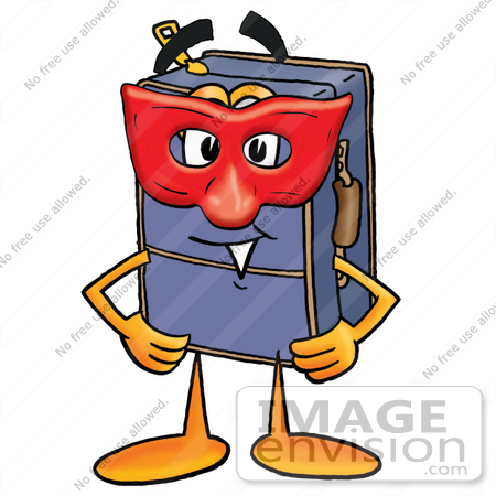#26501 Clip Art Graphic of a Suitcase Luggage Cartoon Character Wearing a Red Mask Over His Face by toons4biz