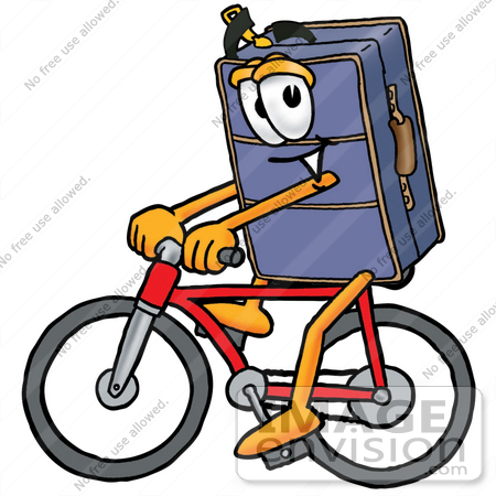 #26510 Clip Art Graphic of a Suitcase Luggage Cartoon Character Riding a Bicycle by toons4biz